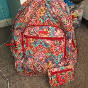 Vera Bradley backpack includes matching wallet